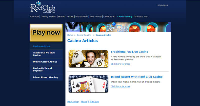 Reef Club Casino Games