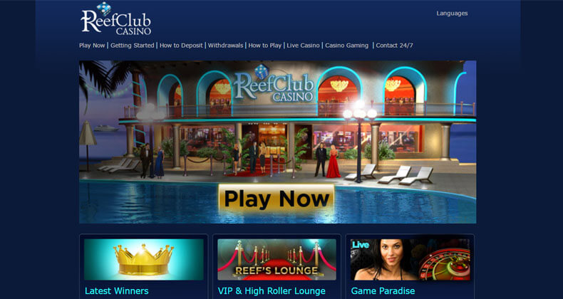 Reef Club Casino Homepage