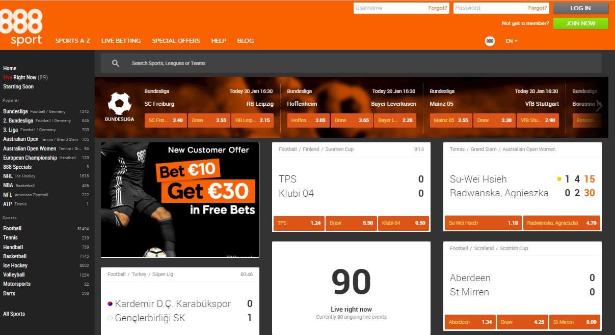 888 Football Betting